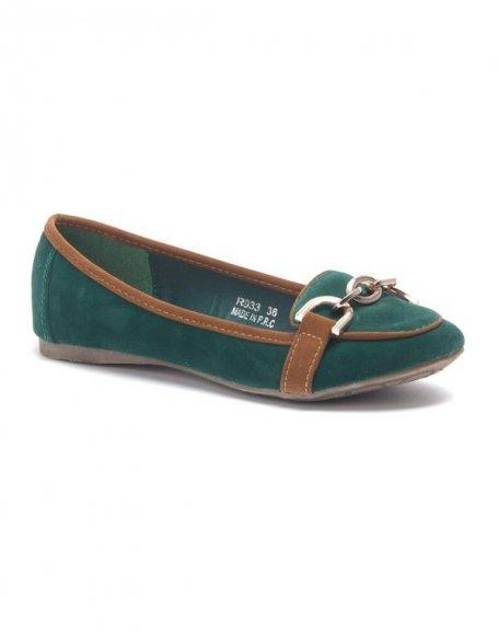 Chaussure femme: Ballerine style mocassin vert