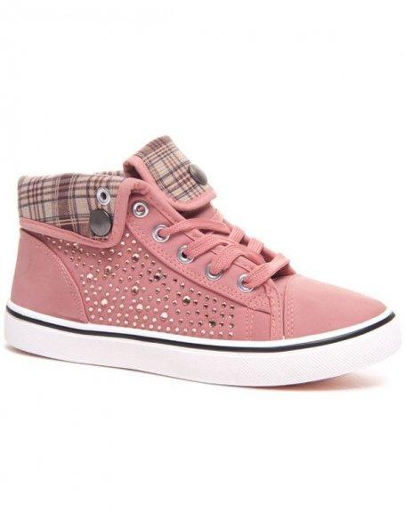 d5b8519472a9 Chaussure femme: Basket rose montante