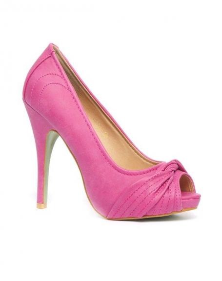 Chaussure femme Belluccci: Escarpin fuchsia à bout ouvert, effet drapé sur le devant