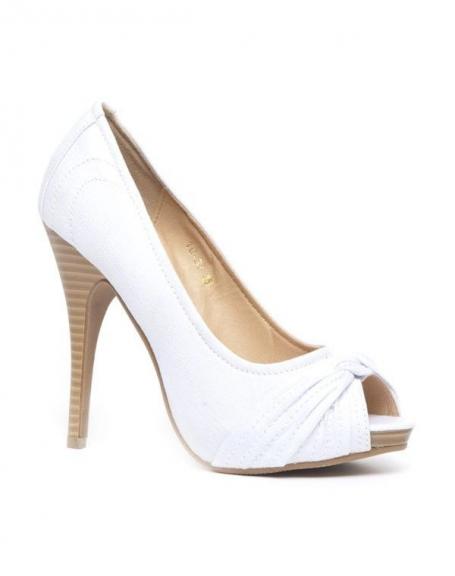 Chaussure femme Belluccci: Escarpin ouvert en toile blanc