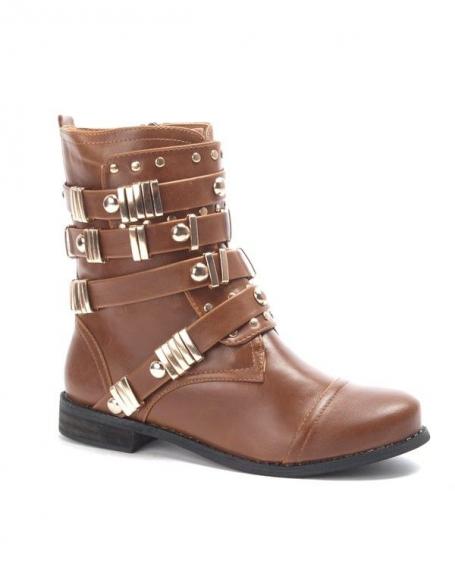 Chaussure femme: Botte à lanière clouté camel