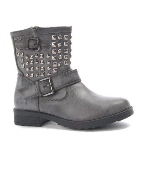 Chaussure femme: Botte clouté kaki (gris)