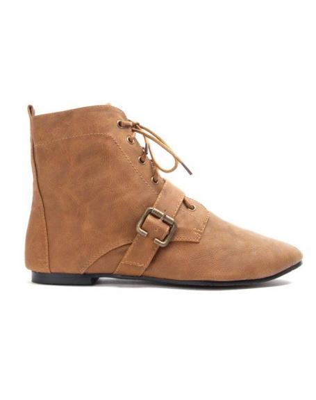 Chaussure femme Bruna Rossi: Bottine plate - camel