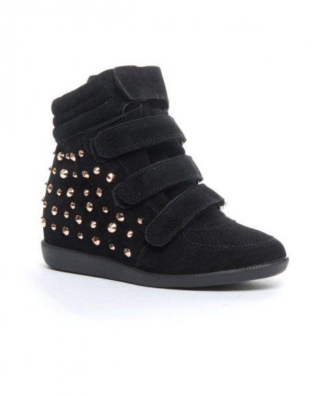 Chaussure femme Cocoperla: Basket compensée  montante noire