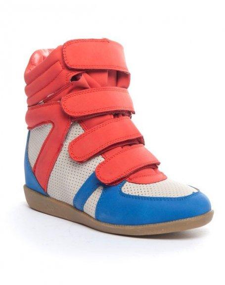 Chaussure femme Cocoperla: Basket compensée montante rouge/ bleue