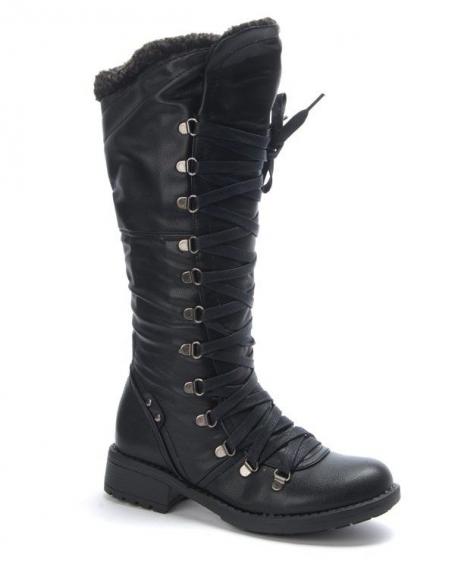 Chaussure femme Dazawa: Botte à lacet noire