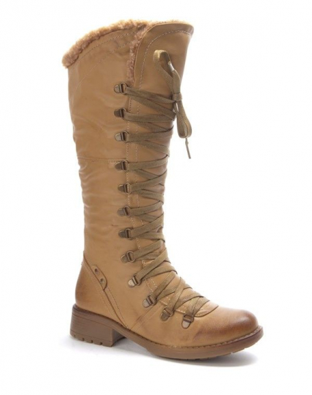 Chaussure femme Dazawa Botte à lacet vintage marron