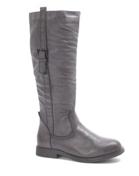 Chaussure femme Dazawa: Botte plate gris