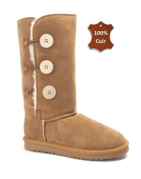 95f3d460d Chaussure femme Farasion: Botte fourrée en CUIR camel