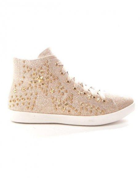 Chaussure femme Findlay: Basket pailleté or