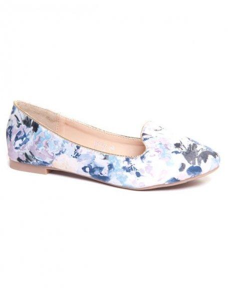Chaussure femme Ideal : Ballerines blanches fleuries
