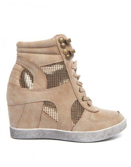 Chaussure femme Ideal: Basket montante beige strass doré.