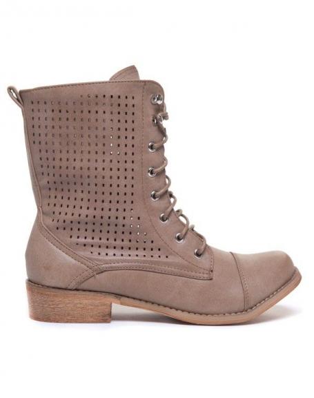 Chaussure femme Ideal: Bottes à lacet kaki