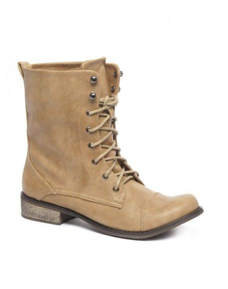 Chaussure femme Ideal: Bottes à lacets beige