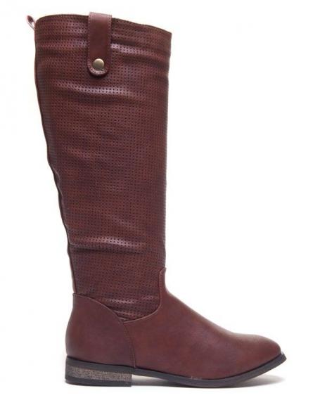 les ventes chaudes 781a6 934f1 Chaussure femme Ideal : Bottes marron perforées