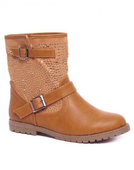 Chaussure femme Ideal: Bottes strassées camel