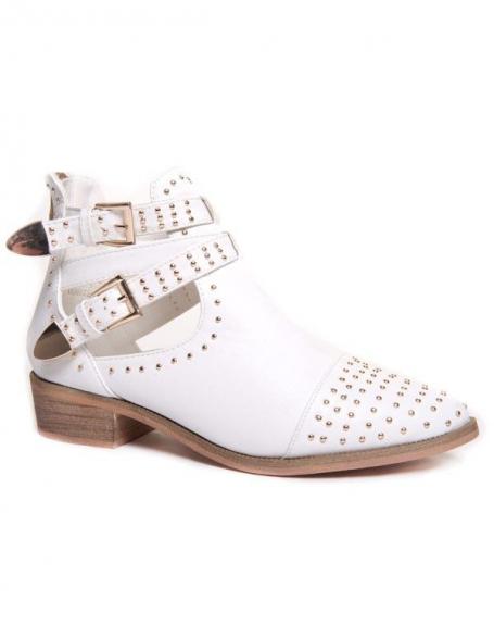 Chaussure femme Ideal: Bottines ajourées blanches à clous