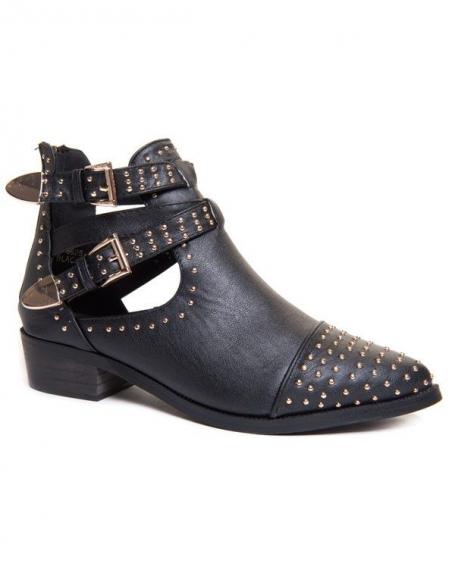 Chaussure femme Ideal: Bottines ajourées noires à clous