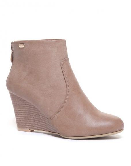 Chaussure femme Ideal: Bottines compensés beiges