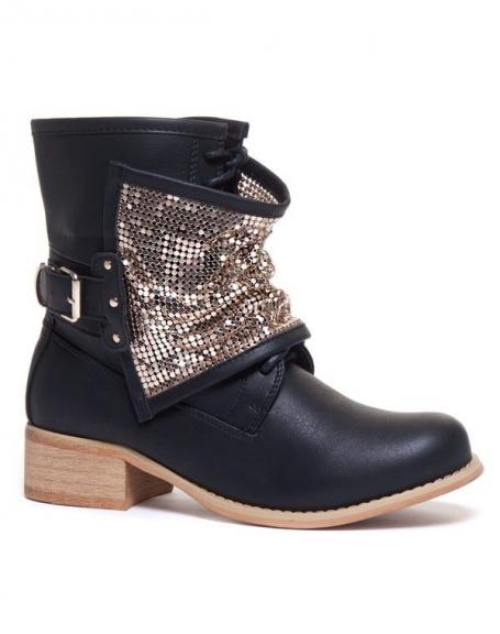 Chaussure femme Ideal: Bottines noires avec ornement doré