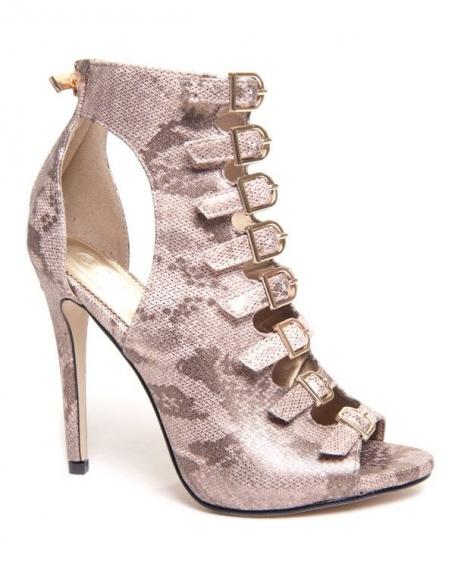 Chaussure femme Ideal: Escarpin ouvert doré à multi sangle