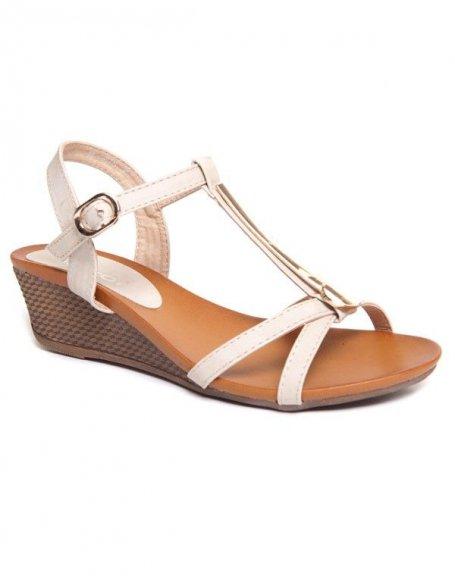 Chaussure femme Ideal : Sandales beiges