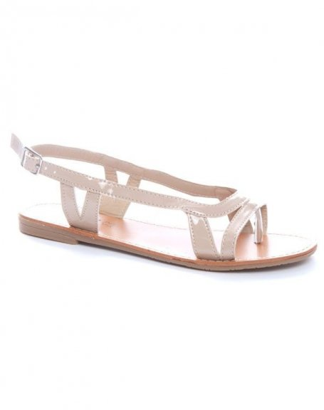 Chaussure femme Ideal: Sandales tongs beiges