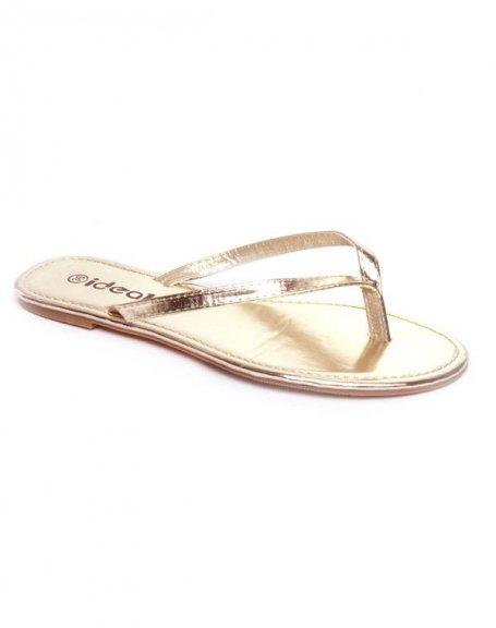 357c0ef5e149 Chaussure femme Ideal: Tong doré