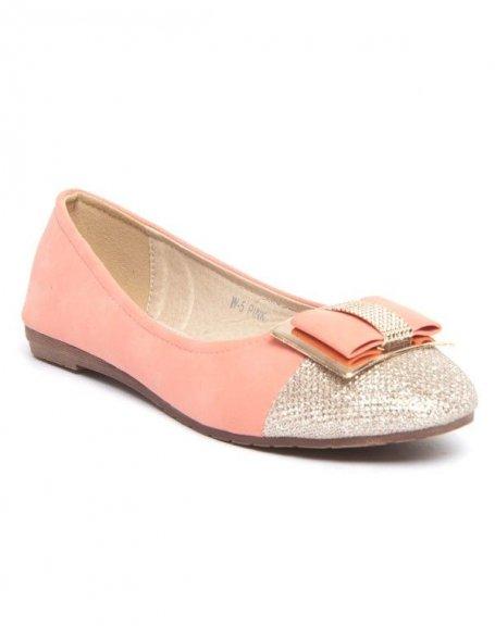 Chaussure femme Jennika: Ballerines roses à ornement doré