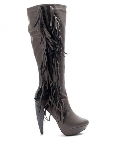 Chaussure femme Jennika: Botte à talon gris