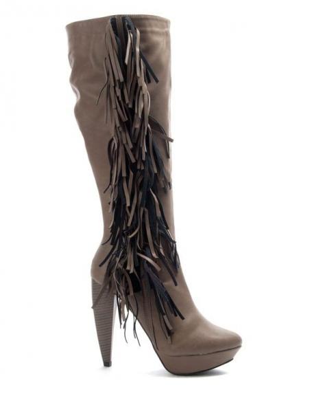 Chaussure femme Jennika: Botte à talon kaki