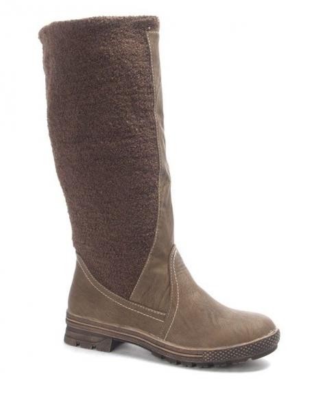 Chaussure femme Jennika: Botte bi matière kaki
