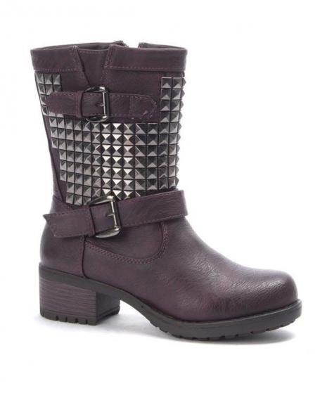 Chaussure femme Jennika: Botte clouté bordeaux