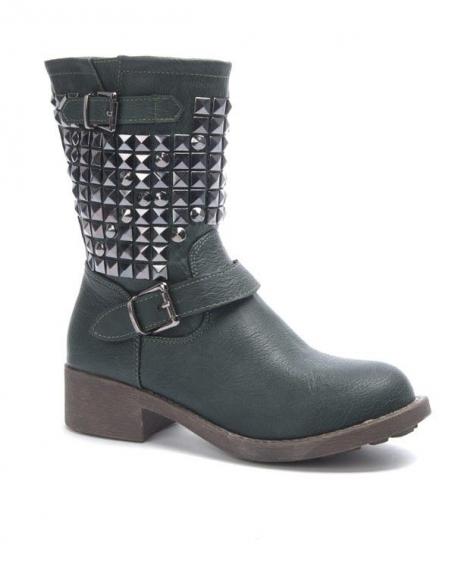 Chaussure femme Jennika: Botte clouté vert