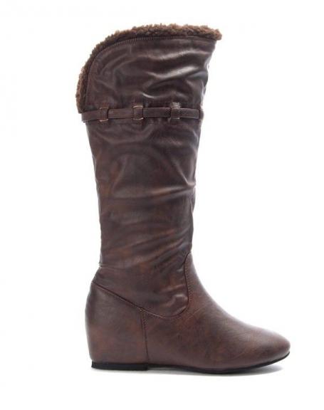 Chaussure femme Jennika: Botte compensé marron