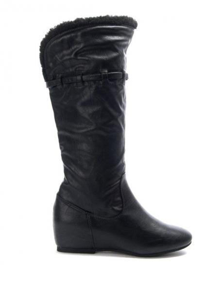 Chaussure femme Jennika: Botte compensé noire