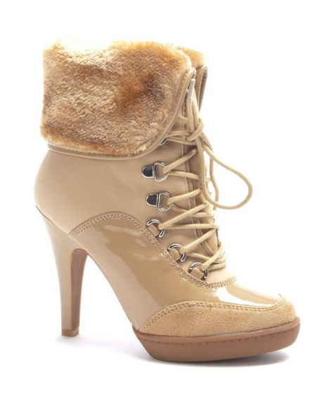 Chaussure femme Jennika: Botte fourré beige