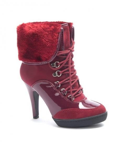 Chaussure femme Jennika: Botte fourré rouge