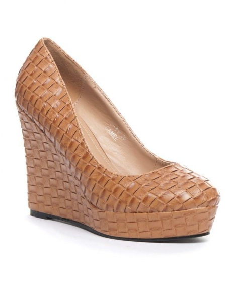 chaussure femme jennika escarpin compens camel. Black Bedroom Furniture Sets. Home Design Ideas