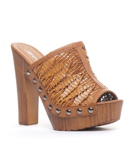 Chaussure femme Jennika: Sabot camel