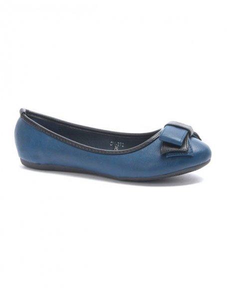 Chaussure femme Jolyvia: Ballerine avec noeud bleu