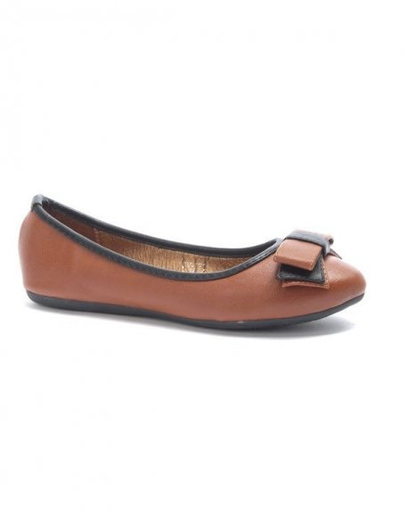 Chaussure femme Jolyvia: Ballerine avec noeud camel