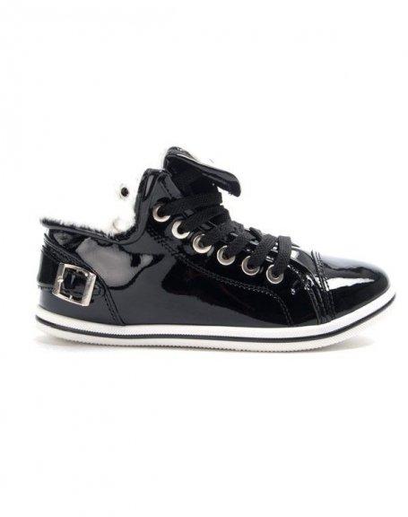 Chaussure femme Libra Pop: Basket vernis fourré - noir