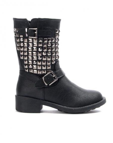 Chaussure femme Libra Pop: Botte clouté - noir