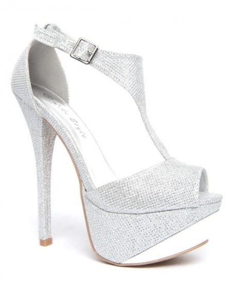 Chaussure femme Like Style: Escarpin argentés reflet paillette