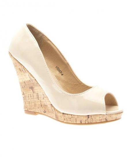 Chaussure femme Like Style, Escarpin compensé beige