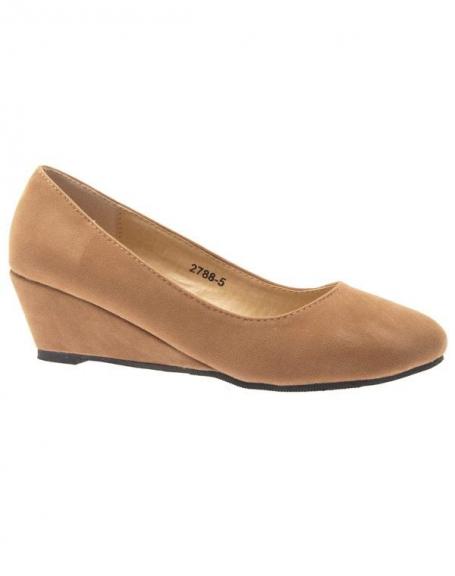 Chaussure femme Like Style: Escarpin compensé camel