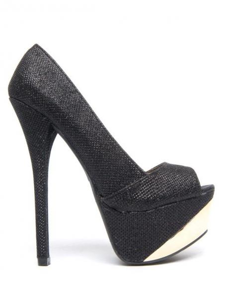 Chaussure femme Like Style: Escarpin noir reflet pailleté