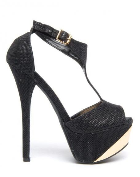 Chaussure femme Like Style: Escarpins noirs reflet paillette