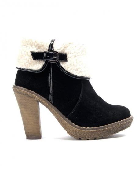 Chaussure femme Like You: Bottine à revers fourré - Noir